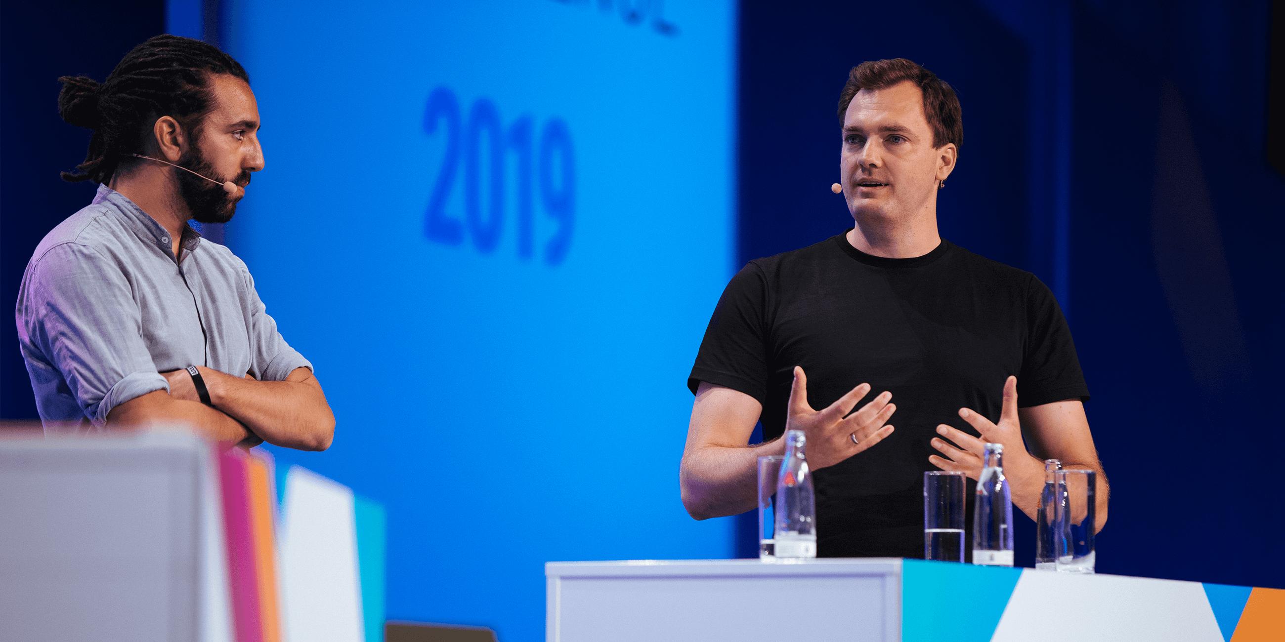 Tarek Müller von About You und Alexander Graf von Kassenzone als Speaker auf der K5 Konferenz 2019