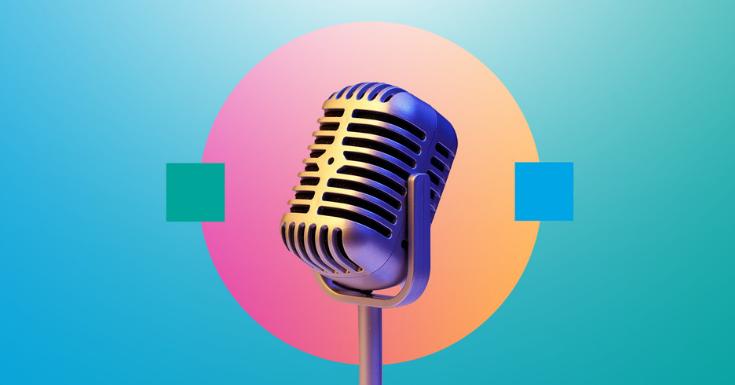Mirkofon als Zeichen für Podcasts