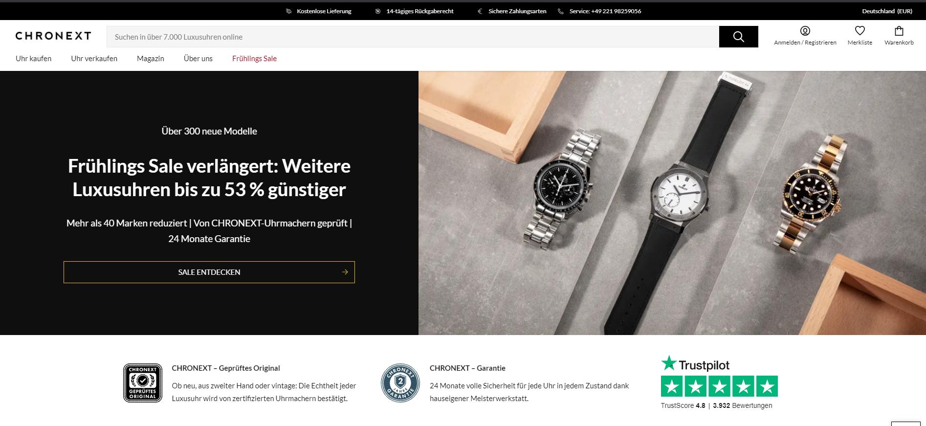 Ein Screenshot des Online-Shops Chronext. Ein Web-Shop für Luxusuhren. Ein hybrider digitaler Marktplatz. Händler und Marken können über die Website verkaufen. Auch Second-Hand Uhren werden angeboten.