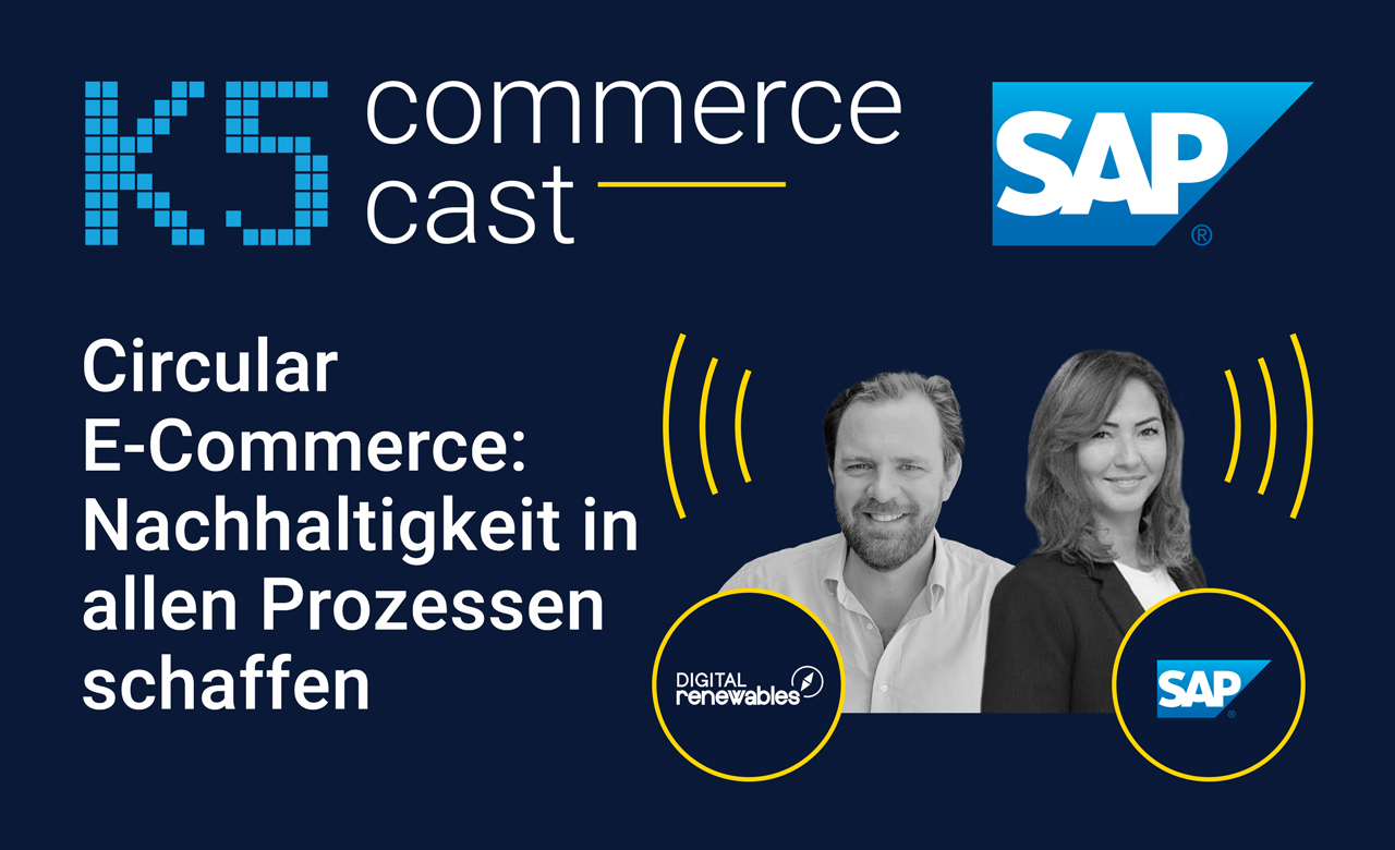 Auf dem Bild sind Lukas Liebler von Renewables und Yurdanur Yesilirmak von SAP zu sehen. Sie reden über Circular E-Commerce und Nachhaltigkeit im Commerce Cast mit Sven Rittau.