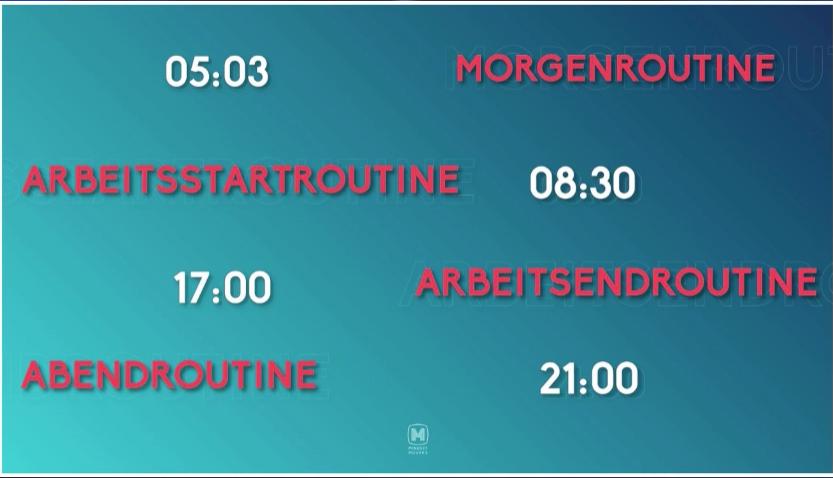 Auf dem Screenshot ist der aktuelle Tagesplanung der Routinen von Jörg Kundrath zu sehen. Ein geregelter Tagesablauf hilft bei optimaler Selbstführung.